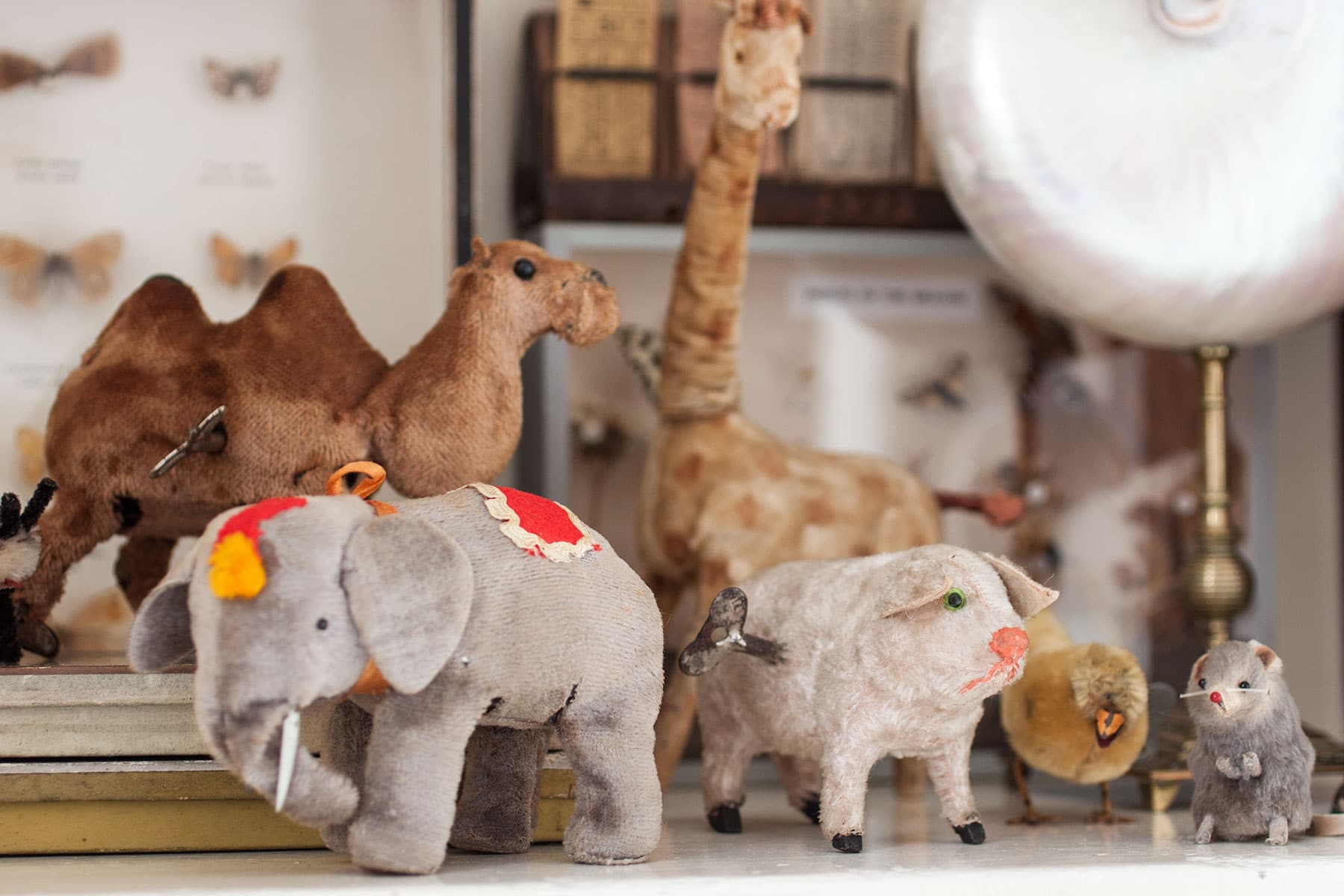 Vintage wind up mohair animals