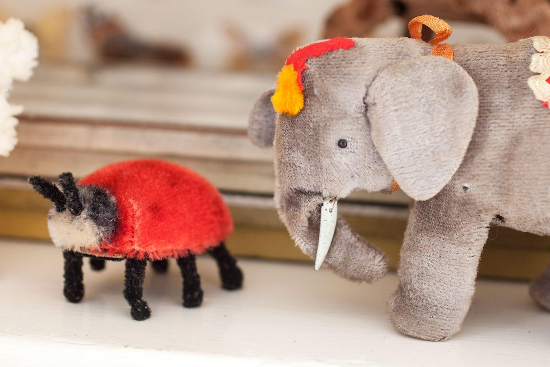 Vintage wind up elephant toy and Steiff mohair ladybird
