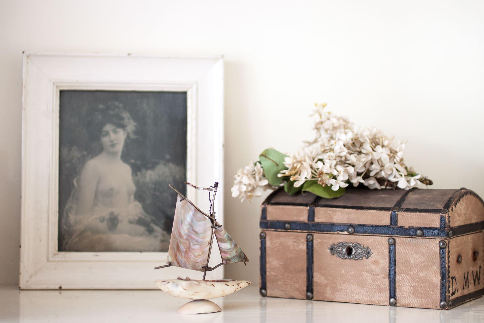 Vintage sailor's valentine seashell souvenir